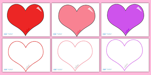 ValentineS Day Editable Heart Template Large  Valentine