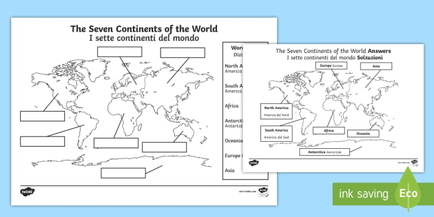 The Seven Continents Labeling Worksheet / Activity Sheet English/Italian    The Arctic, Polar