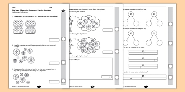 Reasoning Practice Addition and Subtraction - fluency, reasoning, problem solving, assessment