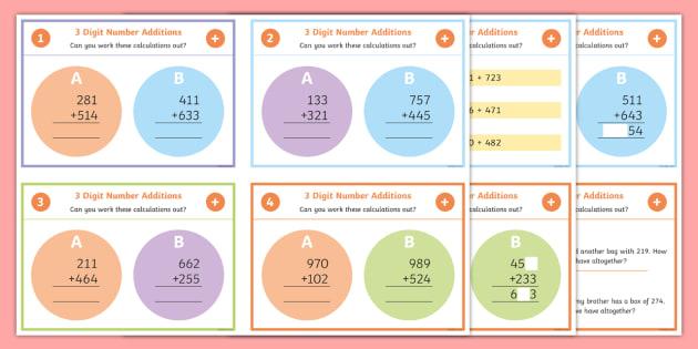 3 Digit Number Addition Maths Challenge Cards - add, 3 digit