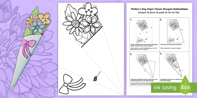 Mother S Day Paper Flower Bouquet Coloring Activity English Portuguese