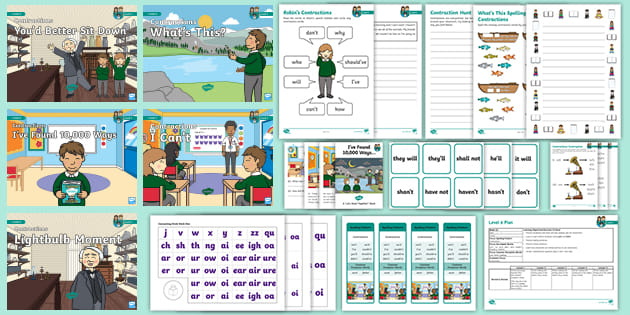 contractions weekly lesson pack   phase 6 week 22