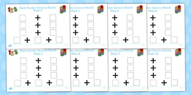 Blank Number Sentence Boards to 10 Pack - blank, number, sentence