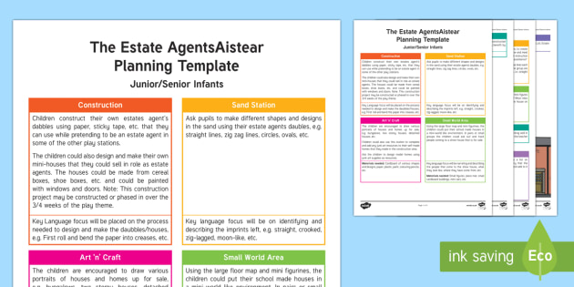 ROI The Estate Agents Aistear Planning Template - Aistear, Infants, English Oral Language, School, The Garda Station, The Hairdressers, The Airport, T
