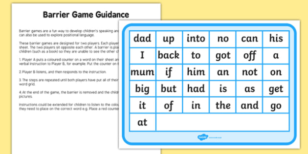 Phase 2 High Frequency Words Counters Barrier Game Activity Sheet, worksheet
