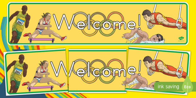 Olympics Themed Welcome Display Banner - usa, america, olympics, 2016 olympics, rio 2016, rio olympics, welcome, display banner, display, banner