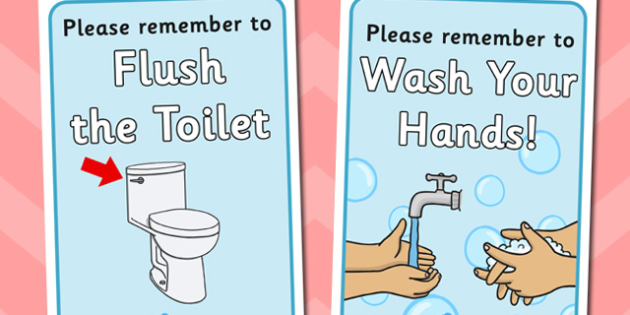 Using the Toilet Reminder Posters - toilet, reminder, posters