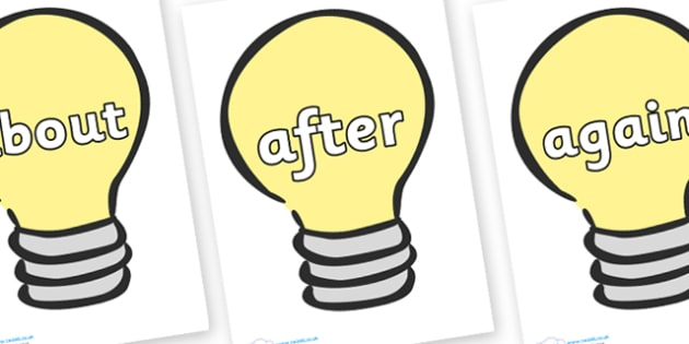 KS1 Keywords on Light Bulbs (Plain) - KS1, CLL, Communication language and literacy, Display, Key words, high frequency words, foundation stage literacy, DfES Letters and Sounds, Letters and Sounds, spelling