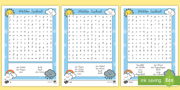 Wetter Suchsel - Weather Wordsearch - seasons, word search