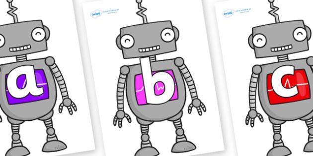 Phoneme Set on Robots - Phoneme set, phonemes, phoneme, Letters and Sounds, DfES, display, Phase 1, Phase 2, Phase 3, Phase 5, Foundation, Literacy