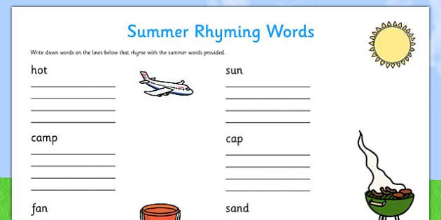 Summer Rhyming Words Worksheet - summer, seasons, rhymes, words