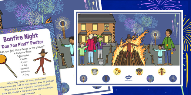 Bonfire Night Can You Find Poster - bonfire night, can you find, poster, display