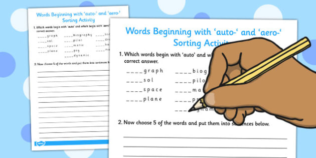 Words Beginning With auto- and aero- Sorting Activity - sorting