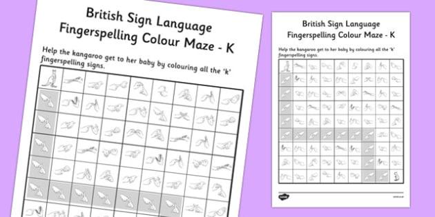 British Sign Language Fingerspelling Colour Maze K - colour, maze