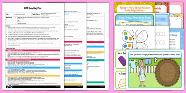 All About Me/Ourselves - My Senses Bumper Busy Bag Plan and Resource Pack