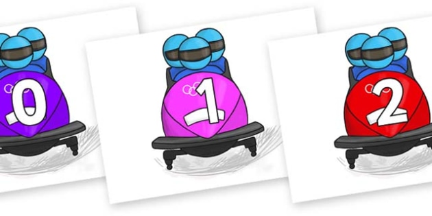 Numbers 0-31 on Bobsleigh - 0-31, foundation stage numeracy, Number recognition, Number flashcards, counting, number frieze, Display numbers, number posters