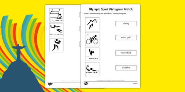 Olympic Sport Pictogram Word and Picture Matching Activity Sheet, worksheet