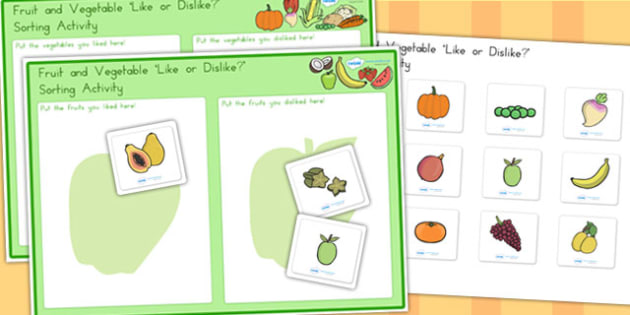 Fruit and Vegetable Like or Dislike Sorting Activity - healthy