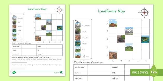 landforms coordinate grid map worksheet landforms map coordinate grid. Black Bedroom Furniture Sets. Home Design Ideas