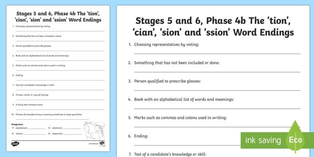 tion cian sion ssion sound worksheet ni phase 4b phonics. Black Bedroom Furniture Sets. Home Design Ideas