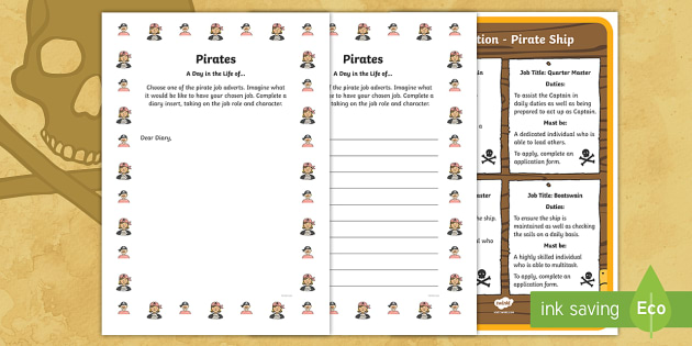 KS1 Pirates A Day in the life of... Writing Frames - Career