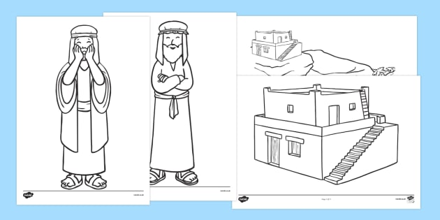 The Wise Man And Foolish Story Colouring Sheets