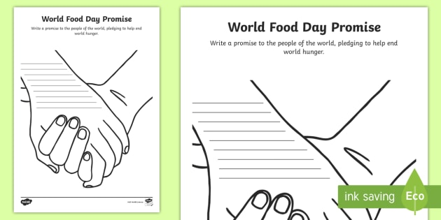 World Food Day Promise Worksheet - World hunger, farming ...