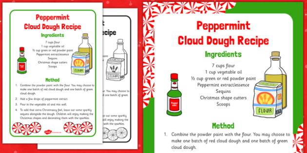 Peppermint Cloud Dough Recipe - Cloud, dough, christmas, EYFS, peppermint