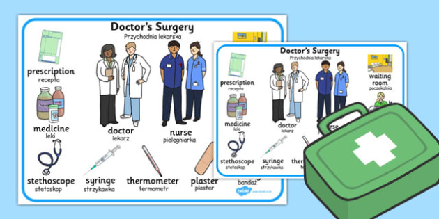 Doctors Surgery Word Mat Polish Translation - polish, doctors surgery