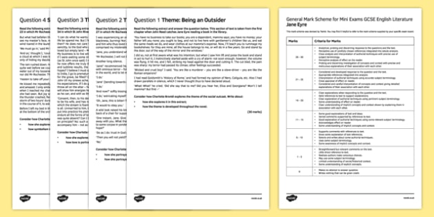 Gcse Jane Eyre 2 Mini Exam Pack