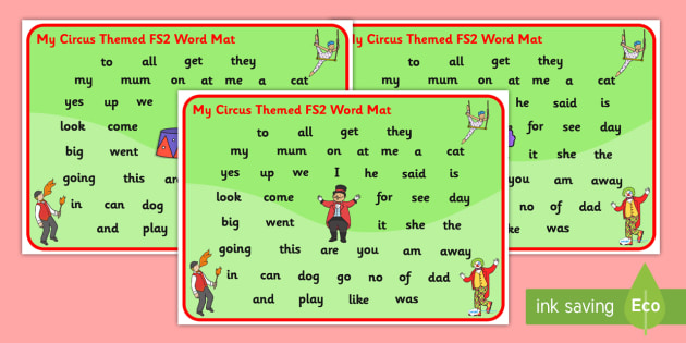 Circus Themed FS2 Word Mat - foundation stage, visual aid, words