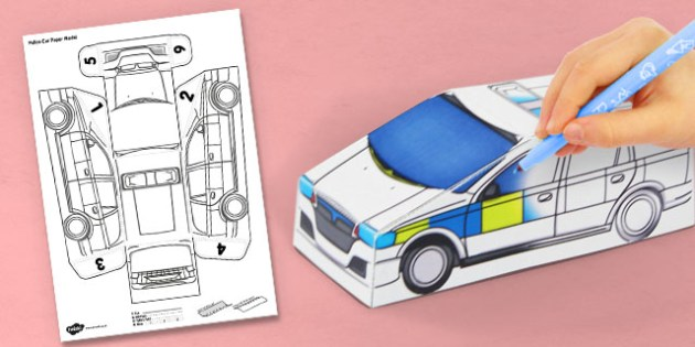 Paper Car Template | 3d Police Car Paper Model Activity Crafts Cars Activities