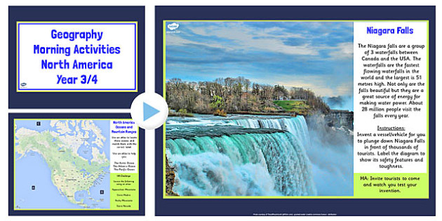 Year 3 4 North America Geography Morning Activities PowerPoint