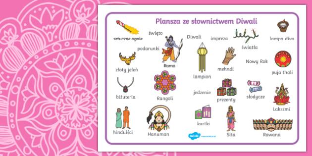 Plansza ze słownictwem Diwali