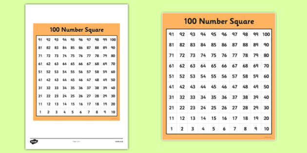 100 (Hundred) Square - education, home school, free, education