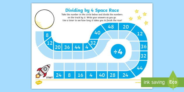 Dividing by 4 Space Race Activity Sheet - Maths, Divide, Dividing, Race