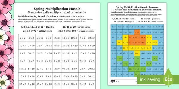 spring multiplication mosaics differentiated worksheet. Black Bedroom Furniture Sets. Home Design Ideas
