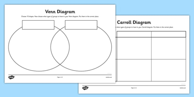 Shapes Grid And Venn Diagram Worksheets Carroll Diagram