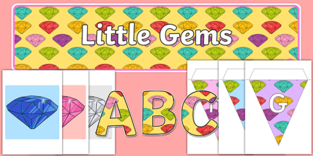 Little Gem Display Pack - gem, precious stones, ks1, ks2, class, display, colourful, classname