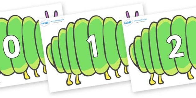 Numbers 0-50 on Fat Caterpillars to Support Teaching on The Very Hungry Caterpillar - 0-50, foundation stage numeracy, Number recognition, Number flashcards, counting, number frieze, Display numbers, number posters