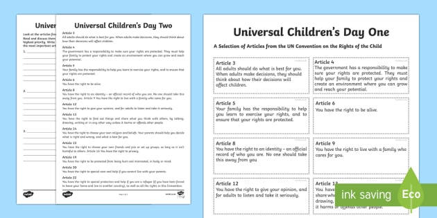 KS2 Universal Children's Day Worksheet / Worksheets