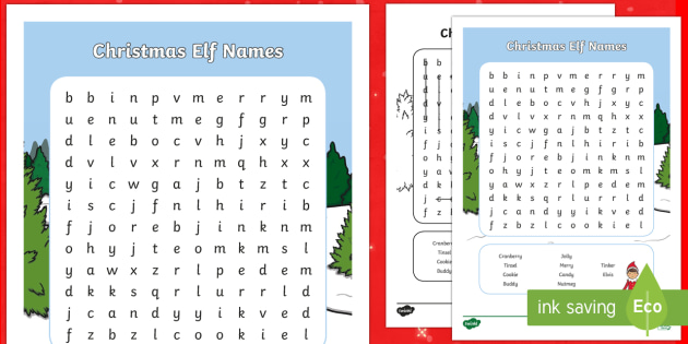 Christmas Elf Names.Ks1 Christmas Elf Names Word Search Christmas Elf Names