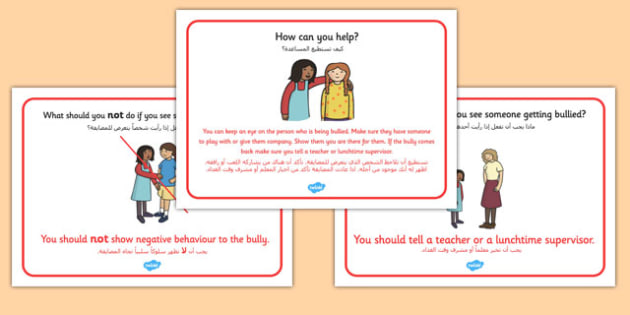 What To Do If You See Bullying Display Posters Arabic Translation - arabic, what to do, bullying, display, posters