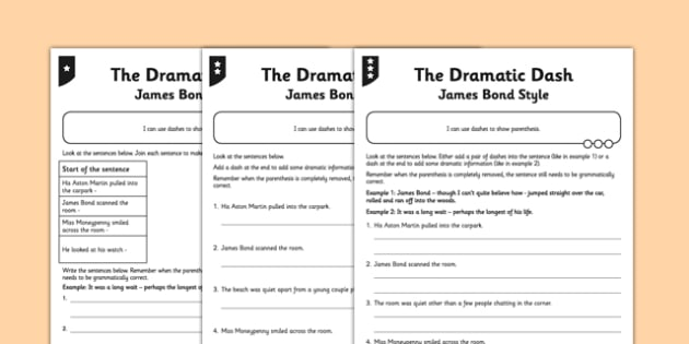 The Dramatic Dash Differentiated Worksheet / Activity Sheet Pack - GPS, spelling, grammar, punctuation, commas, brackets, worksheet