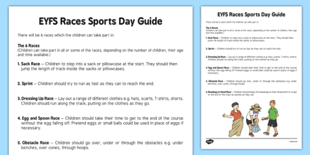 EYFS Races Sports Day Guide