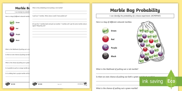 Marble Bag Probability Differentiated Worksheet Worksheets