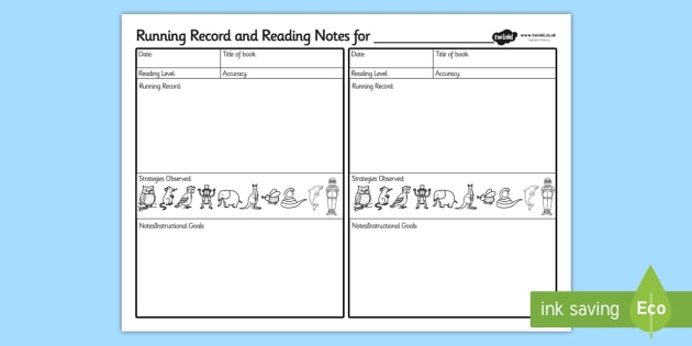 Running Record And Guided Reading Notes - record, guided reading