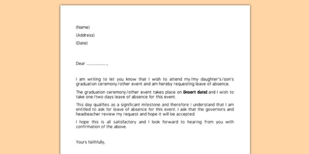 Editable Request For Leave Of Absence Letter Request Leave Absence Letter