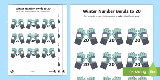 Winter Themed Number Bonds to 20 Activity Sheet