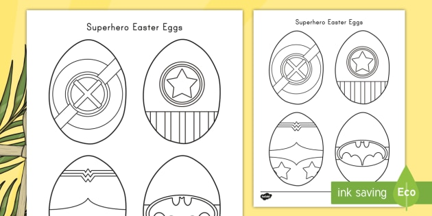 Superhero Easter Eggs Coloring Activity - easter egg, superhero ...